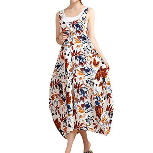 AgrinTol Womens Summer Floral Dress Sleeveless Long A-lin Cotton Plus Size Dress (XXL, -