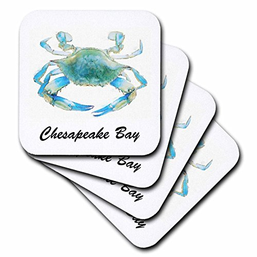 3dRose cst_128181_3 Chesapeake Bay Blue Crab Maryland Ceramic Tile Coasters, Set of ()