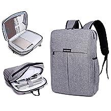 "Garybank Waterproof Laptop Backpack For Women Men Both Top Loader and Panel Loader Good For College School Travel Shoulder Tech Bag Fits UNDER 16"" Laptop & Notebook Gray"