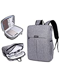 "Garybank Waterproof Laptop Backpack For Women Men Both Top Loader and Panel Loader Good For College School Travel Shoulder Tech Bag Fits UNDER 16"" Laptop & Notebook Gray"