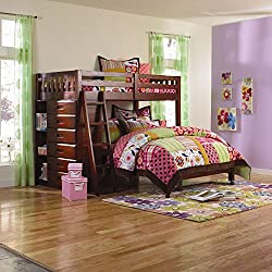 Cambridge Chandler L-Shaped Bunk Bed with Bookshelves and Storage Children's Headboards, Twin Over Full