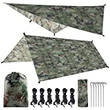 SKL Hammock Rain Fly Tent Tarp 10 x 10 FT Large Waterproof Camping Tarp Shelter UV Protection Lightweight Ripstop Nylon Picnic Mat for Camping Hiking Backpacking