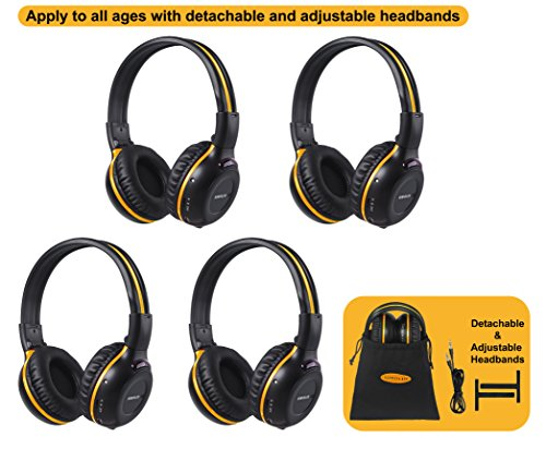 4 Pack of DVD Wireless Headphones, Car Kids Headphones, IR Headphones for Car Entertainment System, Wireless IR Headphones with Dual Channel by SIMOLIO (Image #7)