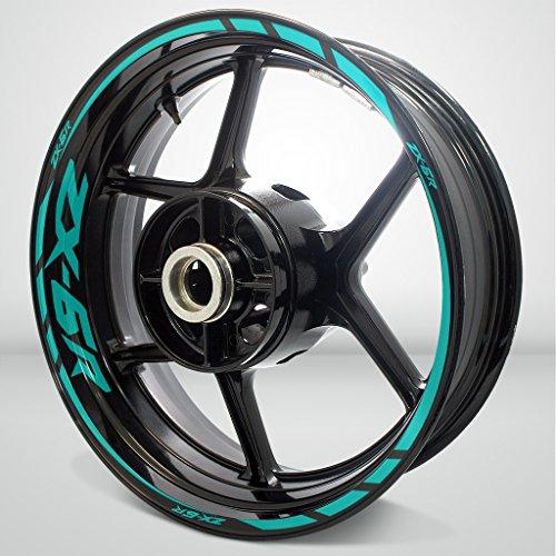 Kawasaki ZX6R Matte Turquoise Motorcycle Rim Wheel Decal Accessory Sticker