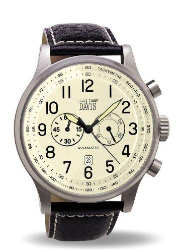 Davis 0454 - Reloj aviador 48mm de cuarzo, cronógrafo sumergible 50M, correa de piel