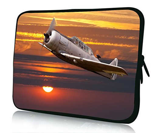 10 inch Rikki Knight Vintage Fighter Plane on Sunset Design Laptop sleeve - Ideal for iPad 2,3,4, iPad Air, Galaxy Note, Small Notebooks and other (Air Force Ipad)