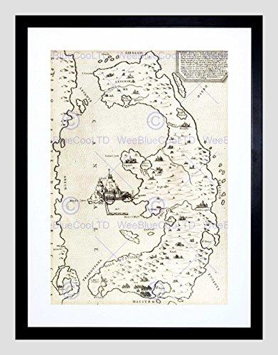 MAP GREEK ISLAND CORFU ANTIQUE GREECES BLACK FRAMED ART PRINT PICTURE (Corfu Greece Map)