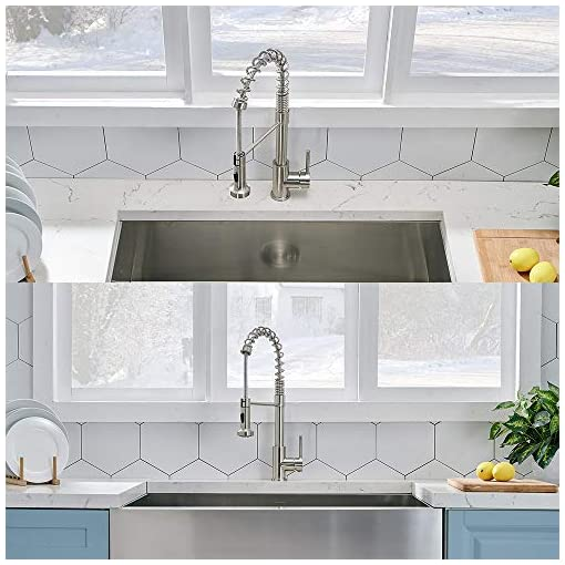 Kitchen VCCUCINE Modern Commercial Spring Stainless Steel Pull Out Sprayer Single Handle Kitchen Faucet, Single Lever Pull Down… modern sink faucets