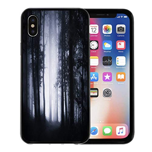 Semtomn Phone Case for Apple iPhone Xs case,Dark Forest Landscape Woodland at Night Spooky Halloween Atmosphere Fog Trees and Mysterious Light for iPhone X Case,Rubber Border Protective Case,Black ()