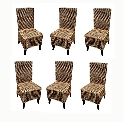 Madison Luxe Collection Mahogany Seagrass Dining Chair (set of 6 pcs)