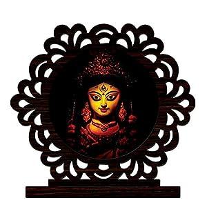 CrazyInk Wood Maa Durga Face Showpiece (Multi_10 x 8 x 1.5 cm)