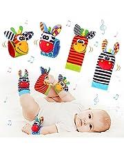 Baby Pols Rammelaars & Voetzoeker Set Zacht Dier Baby Rammelaars Speelgoed voor Meer dan 0 maanden Babyontwikkeling 4 stuks