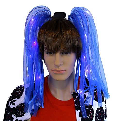 Dazzling Toys LED Light Up Noodle Hair Headband Party Dreads - Blue -