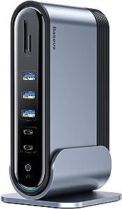 USB C Docking Station, Baseus Dual Display Universal Laptop Docking Station with HDMI/VGA Output, Audio, Gigabit Ethernet, 5 USB Ports, 100W USB-C PD, SD/TF Card Reader for Windows, PC, Mac, Laptop