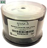 4.7 GB MAM-A (Mitsui) White Thermal Hub Printable/GOLD 8X DVD-R 50-Pak in Cakebox