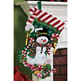 Bucilla 18-Inch Christmas Stocking Felt Applique Kit, 86299 Snowman