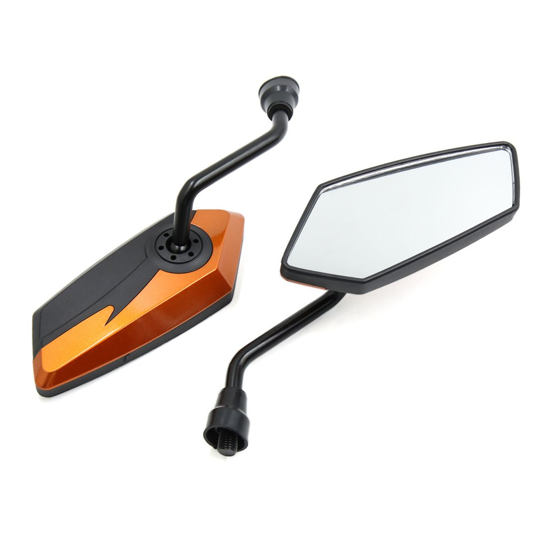 sourcing map Paire Dia Fil 10mm Moto R/étroviseur R/églable Orange Noir