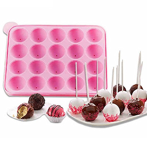 MAXGOODS 20-cavity Round Shape Lollipop Silicone Cake Mold,WITH 100 Count Free Sucker Sticks