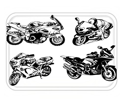 Minicoso Doormat Motorcycle Decor By Cartoon Motorbike Speed Race Exciting Sport Hobby Latest Model Transportation Print Decor Orange - Versace Latest
