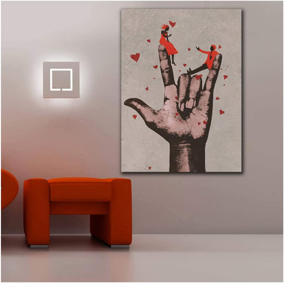 LIPENGYU Cuadro en Lienzo Cuadros Big Hand In Love Sign-50x70cm Sin Marco