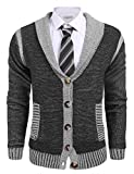 Coofandy Mens Long Sleeve Shawl Collar Knitted Slim Fit Button Cardigan Sweaters