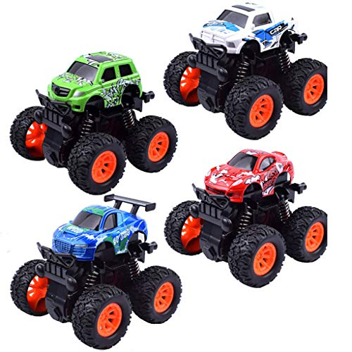 Baby Toddler Toys 4PC Mini Vehicle Pull Back Cars with Big Tire Wheel Creative Gifts for Kids (b) (Rear Excavator)