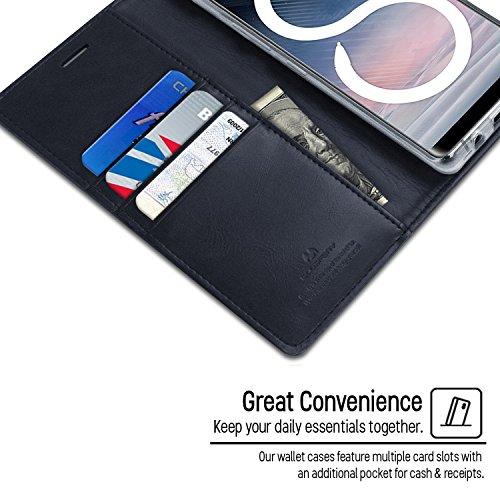 Galaxy Note 8 Fundas, [Drop Protection] GOOSPERY® Blue Moon Diary Caja del teléfono de la imitación de cuero tirón de la carpeta Fundas fundas para Samsung Galaxy Note 8 - Mint Green Navy Gray