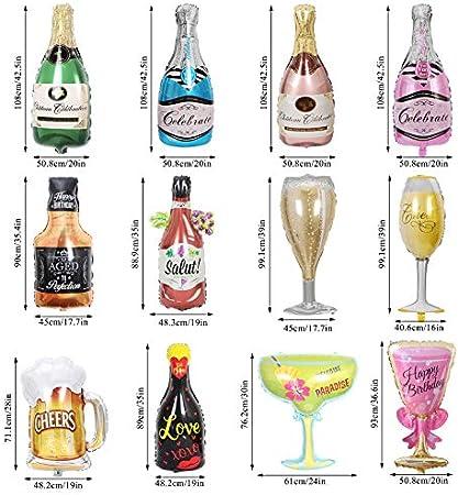 12 globos de helio mylar de papel de aluminio, botella de champán, copa de whisky de hidrógeno, vasos de cerveza, suministros de decoración para cumpleaños, graduación, aniversario, ceremonia de boda