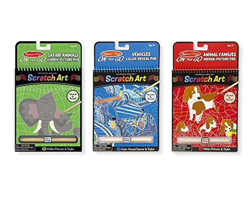 Pad Travel Activity (Melissa & Doug On the Go Scratch Art Activity Books Set - Safari Animals, Animal Families, Vehicles)