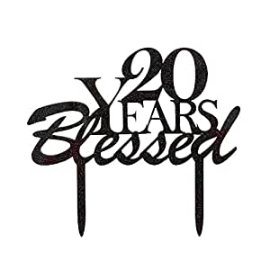 amazon 20 years blessed cake topper 20th birthday party Birthday Black Gold TR40 cake toppers