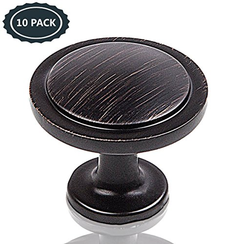"Acrux7 Cabinet Drawer Pull Knobs 10 Pcs Set / Round Handle 1.25"" Diam / Oil Rubbed Bronze Metal Pulls for Under Cabinet, Kitchen Cupboard, Wall Sideboard, China, Wood Cabinet / Curio Cabinet Hardware (Rubbed Wood Black)"
