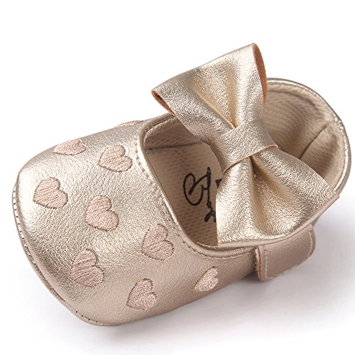 Gold Flat Heart (Qlakeluck Baby Girls Mary Jane Shoes Infant Prewalker Bowknot Heart Sneaker Gold US 4)