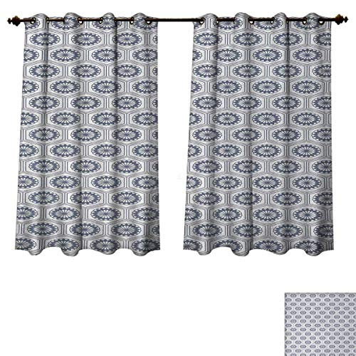 Anzhouqux Geometric Blackout Thermal Backed Curtains for Living Room Comb Design Kikko Tortoise Shell Pattern Western Asian Influences Hexagon Motifs Window Curtain Fabric Grey White W72 x L84 inch (Tortoise Shell Blinds)