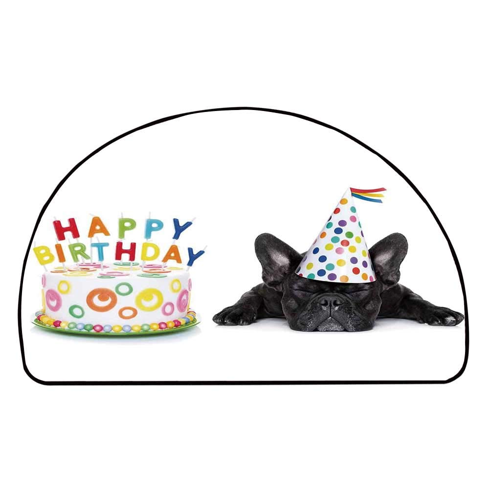 C COABALLA Birthday Decorations for Kids Comfortable Semicircle Mat,Sleepy French Bulldog Party Cake with Candles Cone Hat Image for Living Room,35.4'' H x 70.8'' L