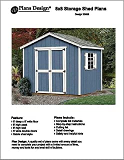 8 X 8 Deluxe Shed Plans Modern Roof Style Design D0808m