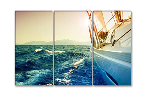 SmartWallArt - Ocean Series Home Decor Wall Art Painting Yacht Sailing Against Sunset.Sailboat.Sepia Ton ed 3 pieces Picture Print on Canvas with Frames Easy to Hang