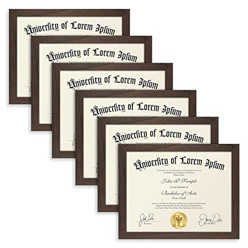 Dark Brown Frames Set - Icona Bay 8.5x11 Diploma Frame (6 Pack, Hickory Brown), Sturdy Wooden Composite Certificate Frame, Document Frame Bulk, Wall or Table Mount, Set of 6 Exclusives Collection