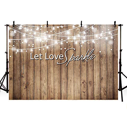 MEHOFOTO Photography Backdrops Shining Wood Let Love Sparkle Wedding Party Decoration Photo Studio Booth Background 7X5ft ()
