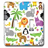 3dRose lsp_222361_2 Cute Jungle Animals Scattered On A White Background - Double Toggle Switch