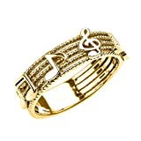 Solid 10k Yellow Gold Treble Clef with Musical Notes Band Ring 6 MM