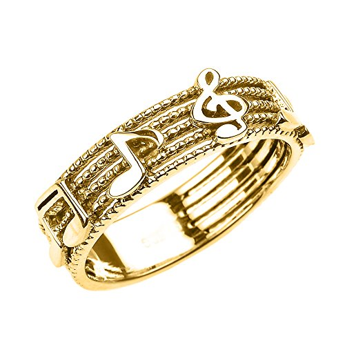 Solid 10k Yellow Gold Treble Clef with Musical Notes Band Ring 6 MM(Size (Solid Yellow Gold Musical Notes)