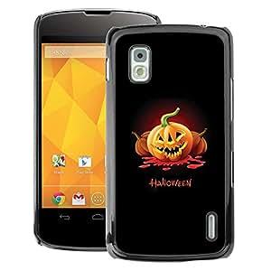 A-type Arte & diseño plástico duro Fundas Cover Cubre Hard Case Cover para LG Nexus 4 E960 (Pumpkin Dark Black Orange)