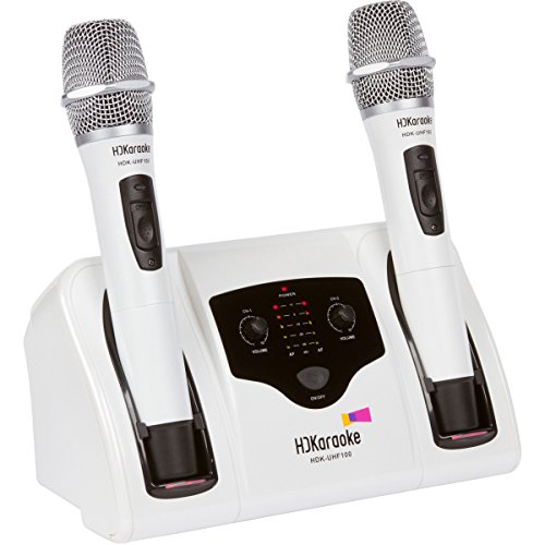 HDKaraoke HDK-UHF 100 Professional UHF Dual-Channel Rechargeable Wireless Microphone System, White (Dual Rechargeable Wireless Channel Microphone)