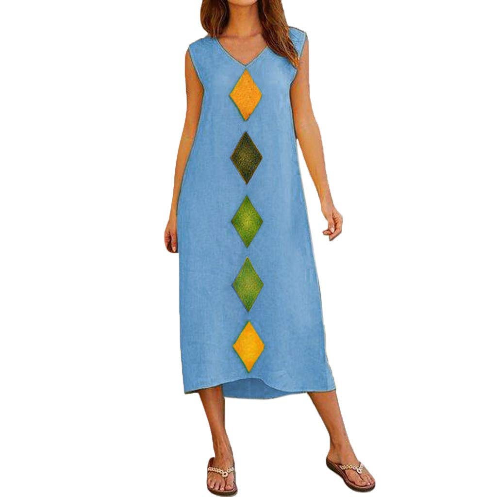 Vestido de verano de lino para mujer, vestido de playa de ...