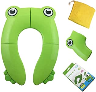 Jujudada Folding Toilet Seat, Portable Potty Training Seat for Babies Toddler Travel, Fits Most Toilets, Home Reusable with Carry Bag