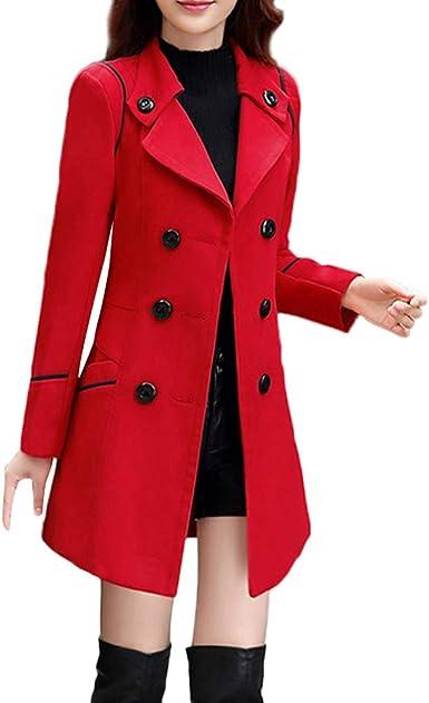 Trenchcoat Mantel Parka schlank lang Mantel zweireihig Jacke Dame Herbst Mode