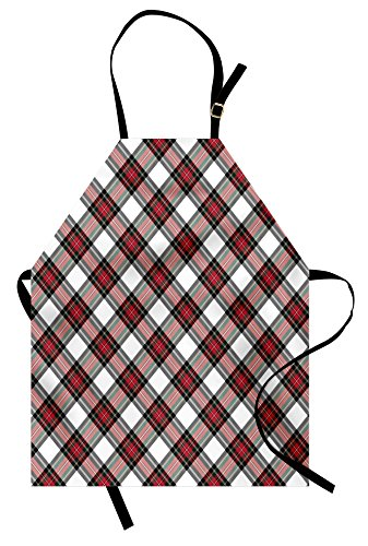 (Ambesonne Tartan Apron, Traditional Plaid with Diagonal Lines and Rhombuses Scottish Culture Inspirations, Unisex Kitchen Bib Apron with Adjustable Neck for Cooking Baking Gardening, Black Coral)