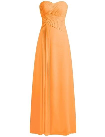 HUINI Strapless Long Chiffon Bridesmaid Prom Dresses Wedding Evening Party Gowns Orange UK6