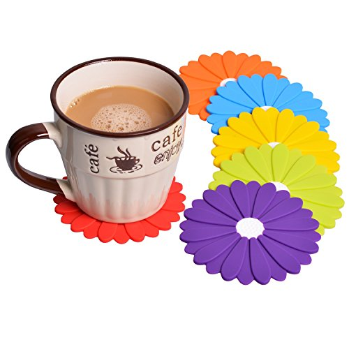 Drink Coaster Set of 6 - Unique Flower Design 4 Inch Silicone Coasters - Protect Furniture From Water Marks & Damage (Multicolor)