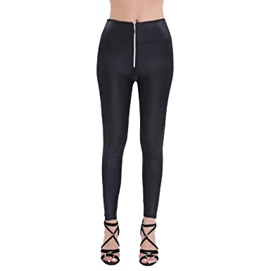 4bc3fc579ae8b iEFiEL Women High-Waisted Front Zipper Stretchy Leggings Skinny Pants at  Amazon Women's Clothing store: